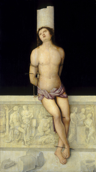 Amico Aspertini<br /><i>Saint Sebastian</i>, c. 1505<br />Oil on panel, 114.9 x 66 cm (45 1/4 x 26 in.)<br />National Gallery of Art, Washington, DC, Samuel H. Kress Collection<br />Image courtesy of the Board of Trustees, National Gallery of Art