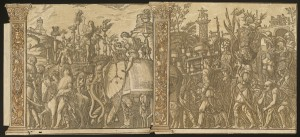 Andrea Andreani, after Andrea Mantegna<br /><i>The Triumph of Julius Caesar</i> [nos. 5 and 6 plus 2 columns], 1599<br />Chiaroscuro woodcut<br />National Gallery of Art, Washington, DC, Rosenwald Collection<br />Image courtesy of the Board of Trustees, National Gallery of Art