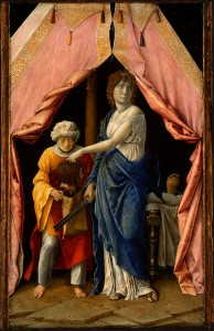 Andrea Mantegna or follower, possibly Giulio Campagnola<br /><i>Judith with the Head of Holofernes</i>, c. 1495/1500<br />Tempera on panel, 30.1 x 18.1 cm (11 7/8 x 7 1/8 in.)<br />National Gallery of Art, Washington, DC, Widener Collection<br />Image courtesy of the Board of Trustees, National Gallery of Art