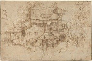 Circle of Giorgione<br /><i>Rustic Houses Built among Ruins</i>, 1510/1513<br />Pen and brown ink on laid paper, 17.7 x 26.6 cm (6 15/16 x 10 1/2 in.)<br />National Gallery of Art, Washington, DC, Woodner Collection<br />Image courtesy of the Board of Trustees, National Gallery of Art