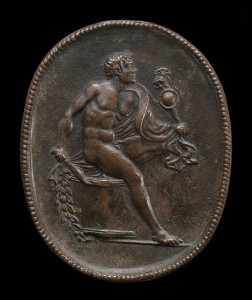 15th or 16th century cast, after an ancient model<br /><i>Diomedes and the Palladium</i><br />Bronze/dark brown patina, 5.1 x 4.1 cm (2 x 1 5/8 in.)<br />National Gallery of Art, Washington, DC, Samuel H. Kress Collection<br />Image courtesy of the Board of Trustees, National Gallery of Art