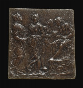 Francesco di Giorgio Martini<br /><i>The Judgment of Paris</i>, c. 1475/1485<br />Bronze/dark patina (black lacquer somewhat rubbed over rich reddish-brown bronze), 13.7 x 13 cm (5 3/8 x 5 1/8 in.)<br />National Gallery of Art, Washington, DC, Samuel H. Kress Collection<br />Image courtesy of the Board of Trustees, National Gallery of Art