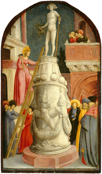 Giovanni d'Alemagna<br /><em>Saint Apollonia Destroys a Pagan Idol</em>, c. 1442/1445<br />Tempera on panel, 59.4 x 34.7 cm (23 3/8 x 13 11/16 in.)<br />National Gallery of Art, Washington, DC, Samuel H. Kress Collection<br />Image courtesy of the Board of Trustees, National Gallery of Art