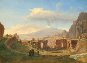 Louise-Joséphine Sarazin de Belmont The Roman Theater at Taormina, 1828 Oil on paper on canvas, 43.2 x 59.7 cm (17 x 23 1/2 in.) National Gallery of Art, Washington, DC, Gift of Frank Anderson Trapp Image courtesy of the Board of Trustees, National Gallery of Art