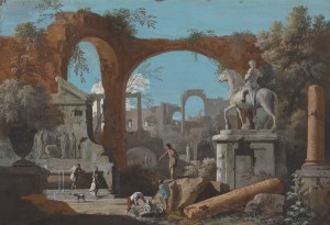 Marco Ricci<br /><i>A Capriccio of Roman Ruins</i>, 1720s<br />Gouache on kidskin, 31.5 x 46 cm (12 3/8 x 18 1/8 in.)<br />National Gallery of Art, Washington, DC, Ailsa Mellon Bruce Fund<br />Image courtesy of the Board of Trustees, National Gallery of Art