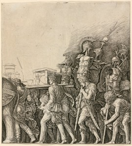 Workshop of Andrea Mantegna or Attributed to Zoan Andrea<br /><i>Triumph of Caesar: Soldiers Carrying Trophies</i>, c. 1485/1490<br />Engraving, sheet 28.2 x 26 cm (11 1/8 x 10 1/4 in.)<br />National Gallery of Art, Washington, DC, Rosenwald Collection<br />Image courtesy of the Board of Trustees, National Gallery of Art