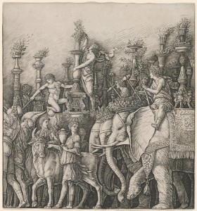 Workshop of Andrea Mantegna or Attributed to Zoan Andrea<br /><i>The Triumph of Caesar: The Elephants</i>, c. 1485/1490<br />Engraving<br />National Gallery of Art, Washington, DC, Andrew W. Mellon Fund<br />Image courtesy of the Board of Trustees, National Gallery of Art
