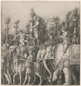 Workshop of Andrea Mantegna or Attributed to Zoan Andrea The Triumph of Caesar: The Elephants, c. 1485/1490 Engraving National Gallery of Art, Washington, DC, Andrew W. Mellon Fund Image courtesy of the Board of Trustees, National Gallery of Art
