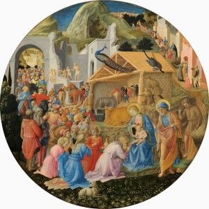 Fra Angelico and Fra Filippo Lippi<br /><i>The Adoration of the Magi</i>, c. 1440/60<br />Tempera on panel, diameter 137.3 cm (54 1/16 in.)<br />National Gallery of Art, Washington, DC, Samuel H. Kress Collection<br />Image courtesy of the Board of Trustees, National Gallery of Art