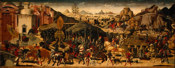 Biagio d'Antonio and workshop<br /><i>The Triumph of Camillus</i>, c. 1470/75<br />Tempera on panel, 60 x 154.3 cm (23 5/8 x 60 3/4 in.)<br />National Gallery of Art, Washington, DC, Samuel H. Kress Collection<br />Image courtesy of the Board of Trustees, National Gallery of Art