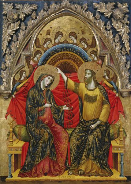 Paolo Veneziano<br /><i>The Coronation of the Virgin</i>, 1324<br />Tempera on panel, 99.1 x 77.5 cm (39 x 30 1/2 in.)<br />National Gallery of Art, Washington, DC, Samuel H. Kress Collection<br />Image courtesy of the Board of Trustees, National Gallery of Art