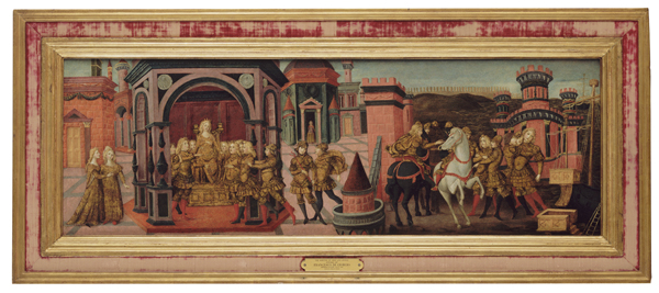 Studio of Franceso di Giorgio Martini The Meeting of Dido and Aeneas, c. 1480 Tempera on wood, 37.5 x 110.2 cm (14 13/16 x 43 7/16 in.) Portland Art Museum, Gift of the Samuel H. Kress Foundation