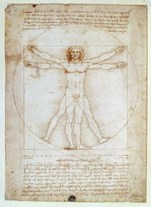 Leonardo da Vinci<br /><i>The Vitruvian Man</i>, c. 1492<br />Pen and brown ink, brush and some brown wash over metalpoint on paper, 34.5 x 24.4 cm (13 9/16 x 9 5/8 in.)<br />Accademia, Venice<br />Scala/Art Resource, NY