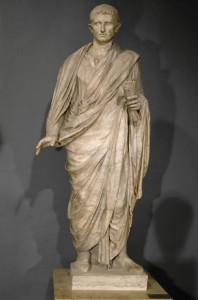 <i>Statue of Augustus</i>, head, c. 20 BCE; draped body, c. 120 CE<br /> Found at Velletri<br /> Marble, h. 215.9 cm (85 in.)<br /> Musée du Louvre, Paris<br /> Freres Chuzeville/Réunion des Musées Nationaux/Art Resource, NY