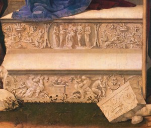 Cesare da Sesto (Il Milanese)<br /><i>The Madonna and Child with Saint John the Baptist and Saint George</i> (detail of throne steps), c. 1514<br />Oil on panel (transferred to pressed wood), 254.6 x 205.7 cm (100 1/4 x 81 in.)<br />Fine Arts Museums of San Francisco, Gift of the Samuel H. Kress Foundation