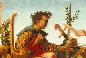 Jacapo Palma il Vecchio<br /><i>The Triumph of Caesar (detail of Caesar's head)</i>, c. 1510<br />Oil on wood<br />Lowe Art Museum, University of Miami, Gift of the Samuel H. Kress Collection