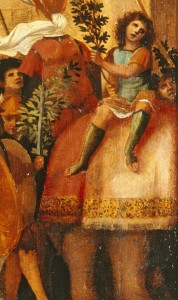 Jacapo Palma il Vecchio<br /><i>The Triumph of Caesar</i> (detail of elephant), c. 1510<br />Oil on wood<br />Lowe Art Museum, University of Miami, Gift of the Samuel H. Kress Collection