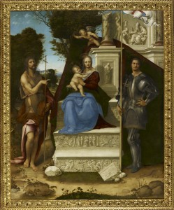 Cesare da Sesto (Il Milanese)<br /><i>The Madonna and Child with Saint John the Baptist and Saint George</i>, c. 1514<br />Oil on panel transferred to pressed wood, 254.6 x 205.7 cm (100 1/4 x 81 in.)<br />Fine Arts Museums of San Francisco, Gift of the Samuel H. Kress Foundation