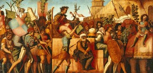 Jacapo Palma il Vecchio<br /><i>The Triumph of Caesar</i>, c. 1510<br />Oil on wood, 69.5 x 145.7 cm (27 3/8 x 57 3/8 in.)<br />Lowe Art Museum, University of Miami, Gift of the Samuel H. Kress Collection