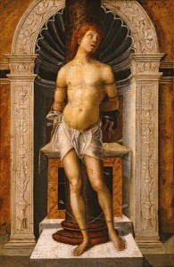 Attributed to Gian Francesco de' Maineri<br /><i>Saint Sebastian</i>, c. 1500<br />Oil on wood panel, 33.7 x 22.2 cm (13 5/16 x 8 3/4 in.)<br />Memphis Brooks Museum of Art, Gift of the Samuel H. Kress Collection