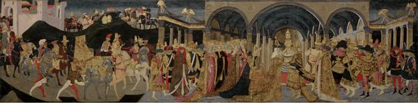 Apollonio di Giovanni and Marco del Buono di Marco<br /><i>Meeting of Solomon and the Queen of Sheba</i>, c. 1464–5<br />Tempera on panel, 52.5 x 185.5 cm (20 11/16 x 73 1/16 in.)<br />Museum of Fine Arts, Boston, Bequest of Mrs. Harriet J. Bradbury