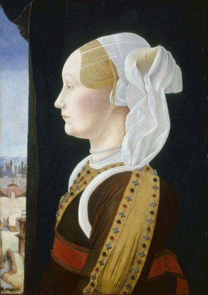Ercole de' Roberti<br /><i>Ginevra Bentivoglio</i>, c. 1474/77<br />Tempera on panel, 53.7 x 38.7 cm (21 1/8 x 15 1/4 in.)<br />National Gallery of Art, Washington, DC, Samuel H. Kress Collection<br />Image courtesy of the Board of Trustees, National Gallery of Art