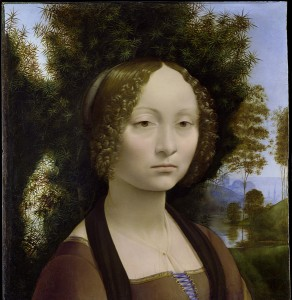 Leonardo da Vinci<br /><i>Ginevra de' Benc</i>i [obverse], c. 1474/78<br />Oil on panel, 42.7 x 37 cm (16 13/16 x 14 9/16 in.)<br />National Gallery of Art, Washington, DC, Ailsa Mellon Bruce Fund<br />Image courtesy of the Board of Trustees, National Gallery of Art