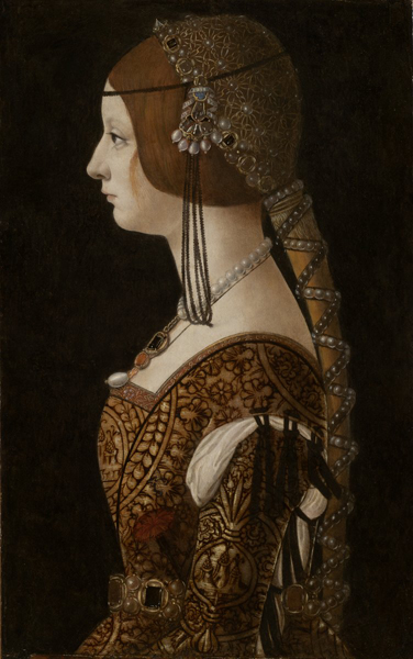 Ambrogio de Predis<br /><i>Bianca Maria Sforza</i>, probably 1493<br />Oil on panel, 51 x 32.5 cm (20 1/16 x 12 13/16 in.)<br />National Gallery of Art, Washington, DC, Widener Collection<br />Image courtesy of the Board of Trustees, National Gallery of Art