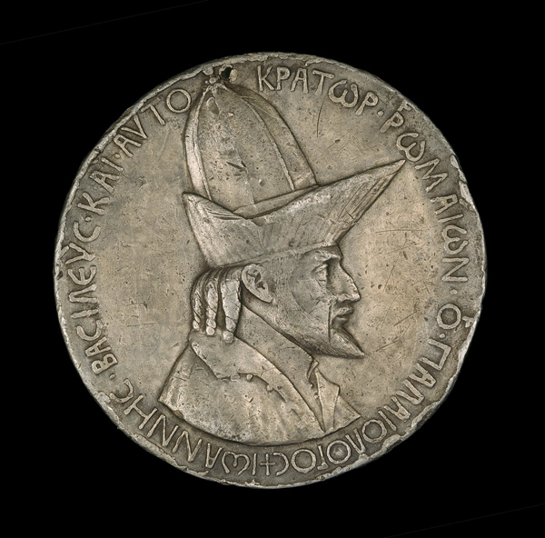 Pisanello<br /><i>John VIII Palaeologus (1392–1448), Emperor of Constantinople (1425)</i> [obverse], 1438<br />Lead, trial cast, diameter 10.38 cm (4 1/16 in.)<br />National Gallery of Art, Washington, DC, Samuel H. Kress Collection<br />Image courtesy of the Board of Trustees, National Gallery of Art