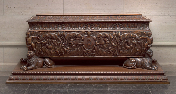 Florentine, first half of 16th century<br /><i>Cassone</i> made for Strozzi family<br />Walnut and poplar, 191.5 x 64.2 x 69.7 cm (75 3/8 x 25 1/4 x 27 7/16 in.)<br />National Gallery of Art, Washington, DC, Widener Collection<br />Image courtesy of the Board of Trustees, National Gallery of Art