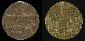 Bertoldo di Giovanni<br /><i>The Pazzi Conspiracy Medal: Lorenzo de' Medici, il Magnifico (1449–92)</i> [obverse]; <i>The Murder of Giuliano I de' Medici</i> [reverse], 1478<br />Bronze, diameter 6.6 cm (2 5/8 in.)<br />National Gallery of Art, Washington, DC, Samuel H. Kress Collection<br />Image courtesy of the Board of Trustees, National Gallery of Art