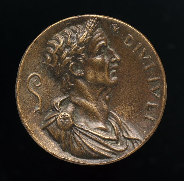 16th-century cast, after ancient model<br /><em>Julius Caesar</em><br />Bronze/light brown patina, diameter 4.1 cm (1 5/8 in.)<br />National Gallery of Art, Washington, DC, Samuel H. Kress Collection<br />Image courtesy of the Board of Trustees, National Gallery of Art