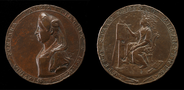 Felice Antonio Casone<br /><i>Lavinia Fontana</i>, (1552–1614), <i>Bolognese Painter</i> [obverse]; <i>Lavinia Fontana Painting</i> [reverse], 1611<br />Bronze, diameter 6.5 cm (2 9/16 in.)<br />National Gallery of Art, Washington, DC, Samuel H. Kress Collection<br />Image courtesy of the Board of Trustees, National Gallery of Art