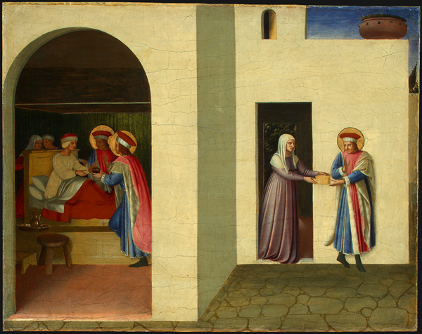 Fra Angelico<br /><i>The Healing of Palladia by Saint Cosmas and Saint Damian</i>, c. 1438/1440<br />Tempera and oil on poplar, 36.2 x 46.3 cm (15 x 18 11/16 in.)<br />National Gallery of Art, Washington, DC, Samuel H. Kress Collection<br />Image courtesy of the Board of Trustees, National Gallery of Art