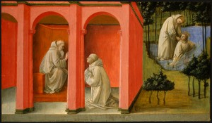 Fra Filippo Lippi<br /><i>St. Benedict Orders Saint Maurus to the Rescue of St. Placidus</i>, 1445/1450<br />Tempera on panel, 40 x 69.5 cm (15 3/4 x 27 3/8 in.)<br />National Gallery of Art, Washington, DC, Samuel H. Kress Collection<br />Image courtesy of the Board of Trustees, National Gallery of Art