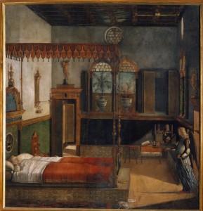 Vittore Carpaccio Saint Ursula's Dream (from the Legend of Saint Ursula), 1495 Oil on canvas, 274 x 267 cm (107 7/8 x 105 1/8 in.) Accademia, Venice Cameraphoto Arte, Venice/Art Resource, NY