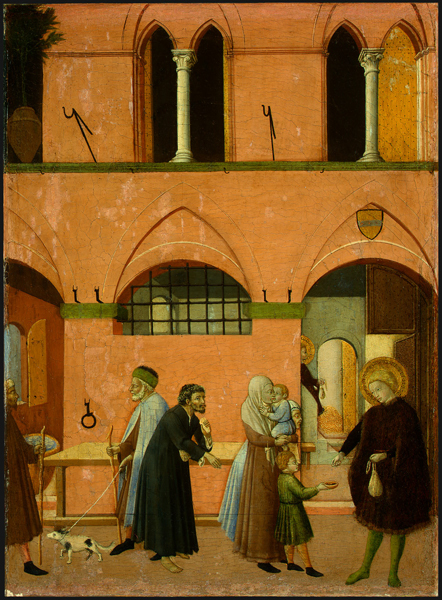 Master of the Osservanza<br /><i>Saint Anthony Distributing His Wealth to the Poor</i>, c. 1430/1435<br />Tempera on panel, 47.3 x 34.8 cm (18 1/4 x 13 1/4 in.)<br />National Gallery of Art, Washington, DC, Samuel H. Kress Collection<br />Image courtesy of the Board of Trustees, National Gallery of Art
