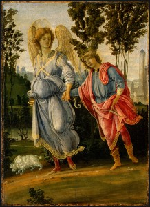 Filippino Lippi Tobias and the Angel, c. 1475/80 Oil and tempera (?) on panel, 32.7 x 23.5 cm (12 7/8 x 9 1/4 in.)  National Gallery of Art, Washington, DC, Samuel H. Kress Collection Image courtesy of the Board of Trustees, National Gallery of Art