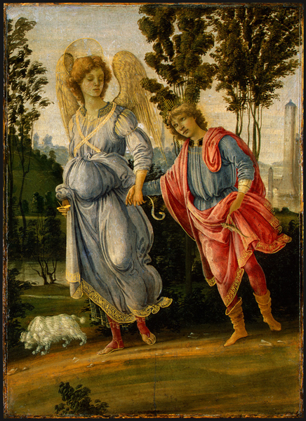 Filippino Lippi<br /><i>Tobias and the Angel</i>, c. 1475/80<br />Oil and tempera (?) on panel, 32.7 x 23.5 cm (12 7/8 x 9 1/4 in.)<br />National Gallery of Art, Washington, DC, Samuel H. Kress Collection<br />Image courtesy of the Board of Trustees, National Gallery of Art
