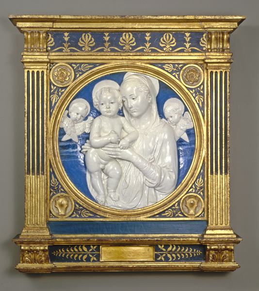 Andrea della Robbia<br /><i>Madonna and Child with Cherubim</i>, c. 1485<br />Glazed terra-cotta, 95.3 x 88.3 x 14.6 cm (37 1/2 x 34 3/4 x 5 3/4 in.)<br />National Gallery of Art, Washington, DC, Andrew W. Mellon Collection<br />Image courtesy of the Board of Trustees, National Gallery of Art