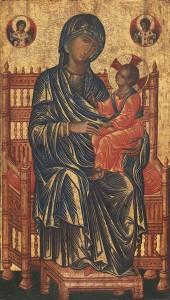 Byzantine, 13th century Enthroned Madonna and Child  Tempera on panel, 131.1 x 76.8 cm (51 5/8 x 30 1/4 in.) National Gallery of Art, Washington, DC, Gift of Mrs. Otto H. Kahn Image courtesy of the Board of Trustees, National Gallery of Art