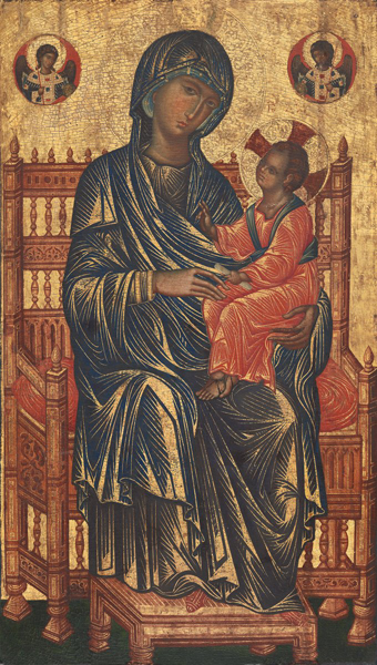 Byzantine, 13th century<br /><i>Enthroned Madonna and Child</i><br />Tempera on panel, 131.1 x 76.8 cm (51 5/8 x 30 1/4 in.)<br />National Gallery of Art, Washington, DC, Gift of Mrs. Otto H. Kahn<br />Image courtesy of the Board of Trustees, National Gallery of Art