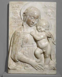 Benedetto da Maiano Madonna and Child, c. 1475 Marble, 58.3 x 39 x 9.8 cm (22 15/16 x 15 3/8 x 3 7/8 in.)  National Gallery of Art, Washington, DC, Samuel H. Kress Collection Image courtesy of the Board of Trustees, National Gallery of Art