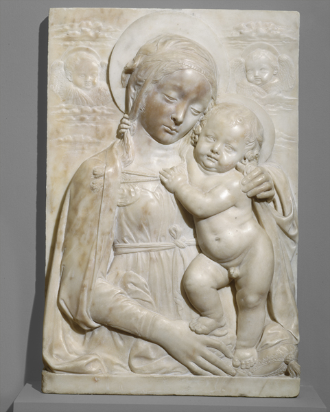 Benedetto da Maiano<br /><i>Madonna and Child</i>, c. 1475<br />Marble, 58.3 x 39 x 9.8 cm (22 15/16 x 15 3/8 x 3 7/8 in.)<br />National Gallery of Art, Washington, DC, Samuel H. Kress Collection<br />Image courtesy of the Board of Trustees, National Gallery of Art