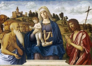 Cima da Conegliano Madonna and Child with Saint Jerome and Saint John the Baptist, c. 1492/95 Oil on panel, 104 x 146 cm (40 15/16 x 57 1/2 in.)  National Gallery of Art, Washington, DC, Andrew W. Mellon Collection Image courtesy of the Board of Trustees, National Gallery of Art