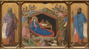 Duccio<br /><i>The Nativity with the Prophets Isaiah and Ezekiel</i>, 1308/11<br />Tempera on panel, 43.8 x 77.5 cm (17 1/4 x 30 1/2 in.)<br />National Gallery of Art, Washington, DC, Andrew W. Mellon Collection<br />Image courtesy of the Board of Trustees, National Gallery of Art