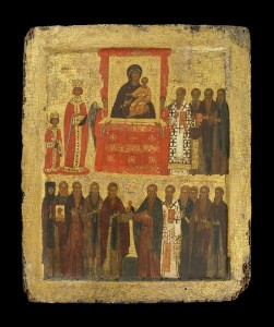 Byzantine (Constantinople), c. 1400 Icon with the Triumph of Orthodoxy Tempera and gold on panel, 37.8 x 31.4 cm (15 3/8 x 12 3/16 in.) British Museum, London © Trustees of the British Museum