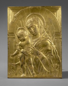 Follower of Donatello Madonna and Child within an Arch, mid-15th century Gilt bronze, 20.4 x 15.3 cm (8 x 6 in.) National Gallery of Art, Washington, DC, Samuel H. Kress Collection  Image courtesy of the Board of Trustees, National Gallery of Art