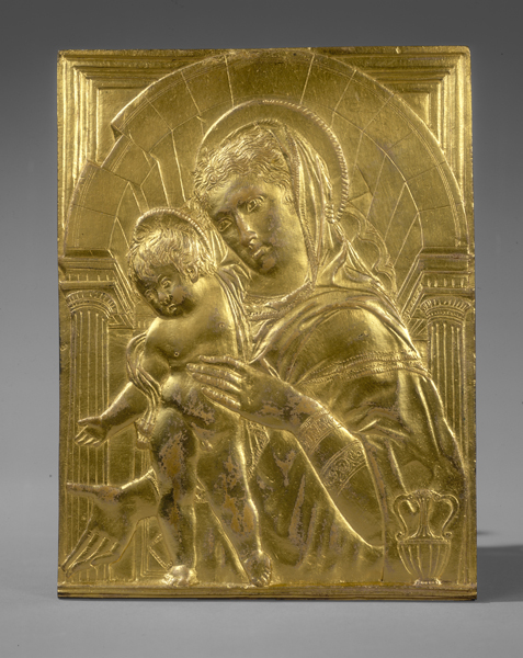 Follower of Donatello<br /><i>Madonna and Child within an Arch</i>, mid-15th century<br />Gilt bronze, 20.4 x 15.3 cm (8 x 6 in.)<br />National Gallery of Art, Washington, DC, Samuel H. Kress Collection<br />Image courtesy of the Board of Trustees, National Gallery of Art