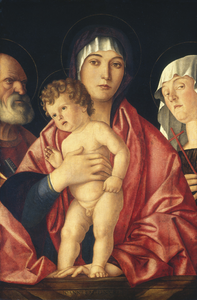 Follower of Giovanni Bellini<br /><i>Madonna and Child with Saints</i>, c. 1490/1500<br />Oil on panel transferred first to canvas and then to wood, 75.5 x 50.8 cm (29 3/4 x 20 in.)<br />National Gallery of Art, Washington, DC, Samuel H. Kress Collection<br />Image courtesy of the Board of Trustees, National Gallery of Art